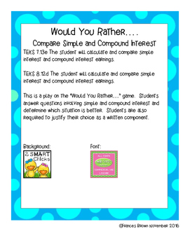 7.13e 8.12d Would You Rather.. Compare Interest Personal Financial Literacy