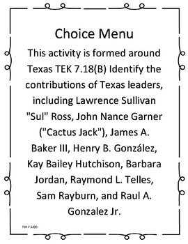 7.18(B) Leaders of Modern Democratic Texas Choice Menu
