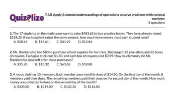 7.3.B Apply & extend understandings of op.. | 7th Grade Math TEKS | Print & Scan