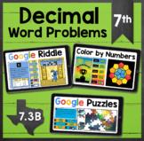 TEKS 7.3A ✩ 7.3B ✩ Decimal Word Problems ✩ Google Sheets A