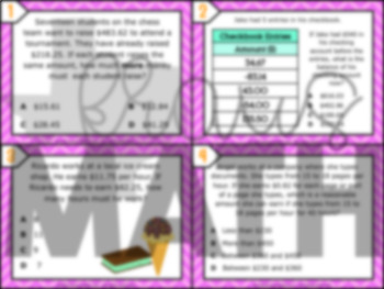7.3B: Rational Numbers with All Operations STAAR Test Prep Task Cards (GRADE 7)
