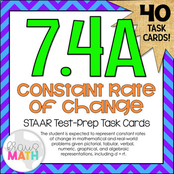 7.4A: Constant Rate of Change STAAR Test Prep Task Cards (GRADE 7)