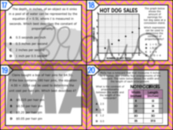 7.4C: Constant of Proportionality STAAR Test Prep Task Cards (GRADE 7)