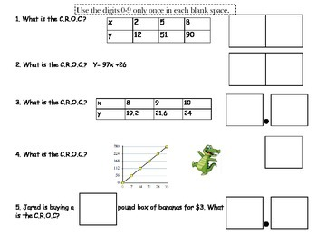 7.4a Constant Rate of Change Practice Sheet - Number Tiles