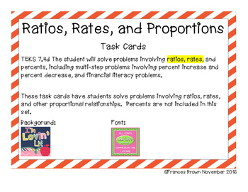 7.4d Ratios, Rates, and Proportions Task Cards