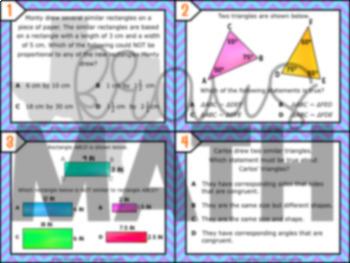 7.5A: Attributes of Similar Figures STAAR Test-Prep Task Cards (GRADE 7)