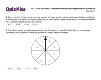 7.6.D Make predictions and determine sol... | 7th Grade Math TEKS | Print & Scan