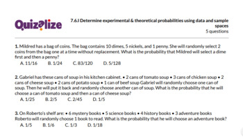 7.6.I Determine experimental & theoretic...   7th Grade Math TEKS   Print & Scan