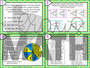 7.6A: Representing Sample Spaces STAAR Test Prep Task Cards (GRADE 7)