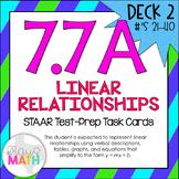 7.7A (DECK 2): Linear Relationships STAAR Test Prep Task Cards!