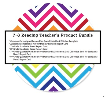 7-8 Grade Teacher's Lesson Plan Book - Keeps Track of Common Core Standards
