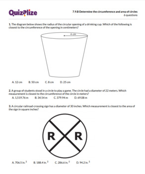 7.9.B Determine the circumference and ar... | 7th Grade Math TEKS | Print & Scan
