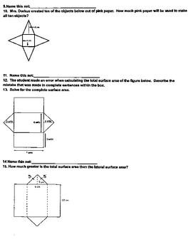 7.9D Surface Area of Net Figures