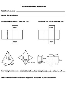 Surface Area Of Nets Worksheet | Teachers Pay Teachers