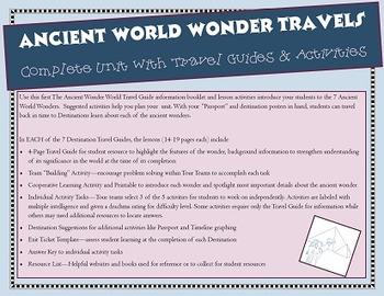 7 Ancient World Wonders - Complete Unit: Travel Guides & A