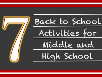 7 Back to School Activities and Icebreakers for Middle or High School