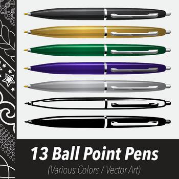 13 Ballpoint Pens (Vector Art) Various Colors, Line Art Variations