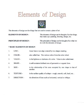 7 Basic Elements of Design Lesson