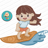 7 Beach Clip Art pieces, surfer girls, Summer party Clipart, 300dpi png files!