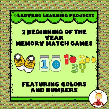 7 Beginning of the Year Memory Match Games....Featuring Colors and Numbers
