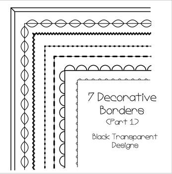 7 Black Decorative A4 Borders (Part 1)