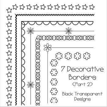 7 Black Decorative A4 Borders (Part 2)