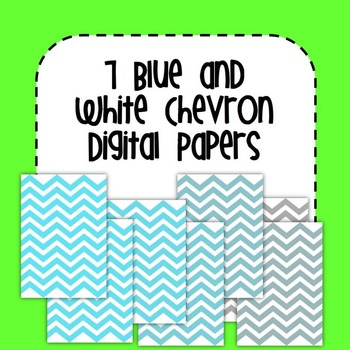 7 Blue and White Chevron Digital Papers