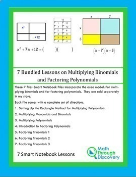 Algebra:  7 Bundled Lessons on Multiplying Binomials and Factoring Polynomials