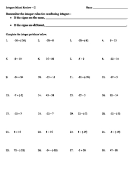7 CC Integer Operations Tiered WS Practice