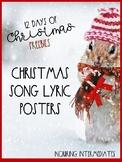 7 Christmas Song Lyric Posters -12 Days of Christmas Freeb