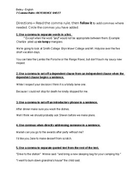 7 Comma Rules with Practice Sentences