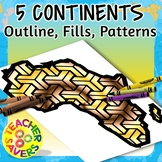 7 Continents Clip Art Set Commercial Use
