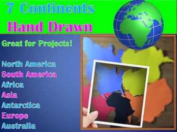 7 Continents Craft or Clipart (Hand Drawn) The Seven Continents