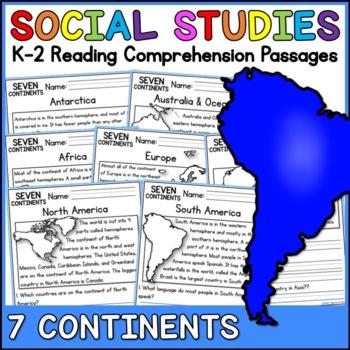 7 Continents Reading Comprehension Passages (K-2) - Social Studies