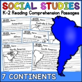 7 Continents Reading Comprehension Passages (K-2) Distance Learning