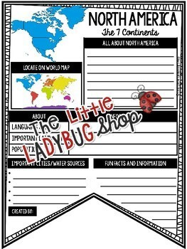 7 Continents Research Activities Teach- Go Pennants™- World Geography Worksheet