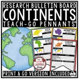 7 Continents Research Activities Teach- Go Pennants™ World Geography Worksheet