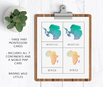7 Continents | Three Part Cards | Montessori Cards | Geography