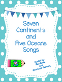 7 Continents and 5 Oceans Songs {Freebie}