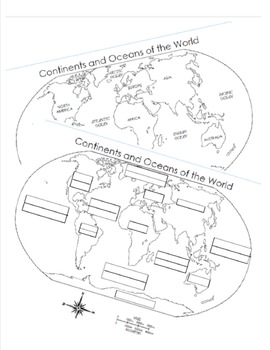 7 Continents and 5 Oceans Blank Map and Answer Key Map