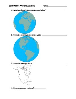 7 Continents and 5 Oceans Quiz