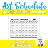 7 DAY Rotation Specials Schedule Template for Art, Black & White, EXCEL .xlxs