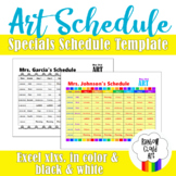 7 DAY Rotation Specials Schedule Template for Art, COLOR, EXCEL .xlxs.
