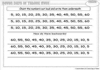 Multiplication Division 7 DAYS of TABLES 5 times table 7 worksheets