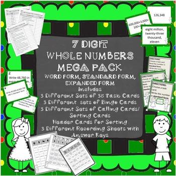 7 DIGIT WHOLE NUMBER MEGA PACK BINGO, TASK CARDS, SORT, MATCH