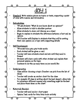7 Day Opinion Writing 2-5 Grade
