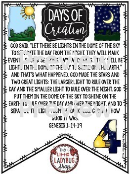 7 Days of Creation Bible Activities & Christian Classroom Lessons