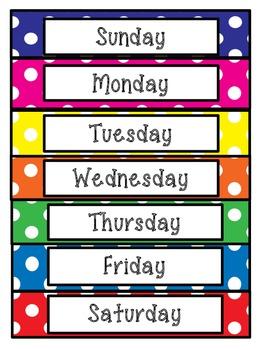 7 Days of the Week Polka Dot