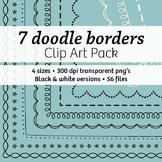 7 Doodle Borders & Frames – Commercial