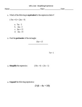 7.EE.1 Quiz - Simplifying Expressions